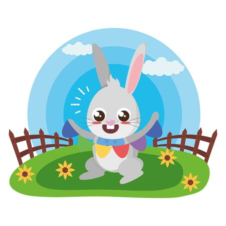 cute rabbit with garland in the meadow vector illustration