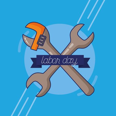wrench adjustable tools happy labor day vector illustration