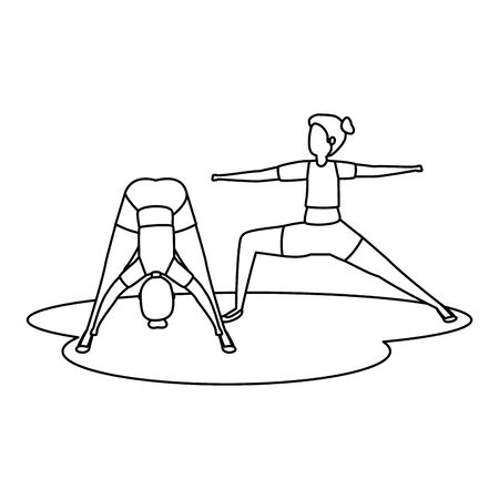 beauty girls couple practicing pilates position vector illustration design