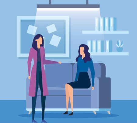 elegant businesswomen workers in livingroom vector illustration design