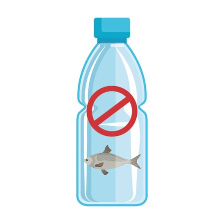 plastic bottle recycle with denied symbol and fish vector illustration design