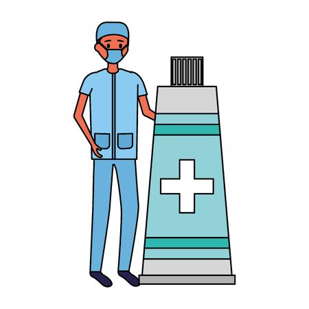 doctor man medical tube medicine vector illustration  イラスト・ベクター素材