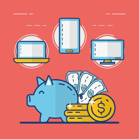piggy bank money currency online payment vector illustration Foto de archivo - 129207571