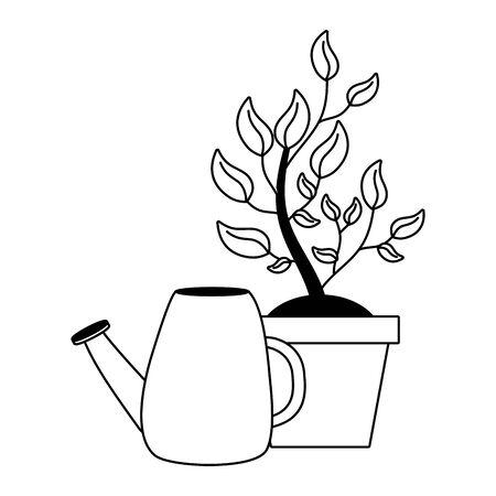 watering can potted plant gardening vector illustration Иллюстрация