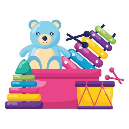 kids toys bucket bear drum xylophone pyramid vector illustration