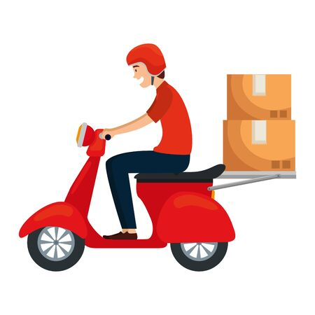 worker of delivery service in motorcycle with boxes vector illustration design