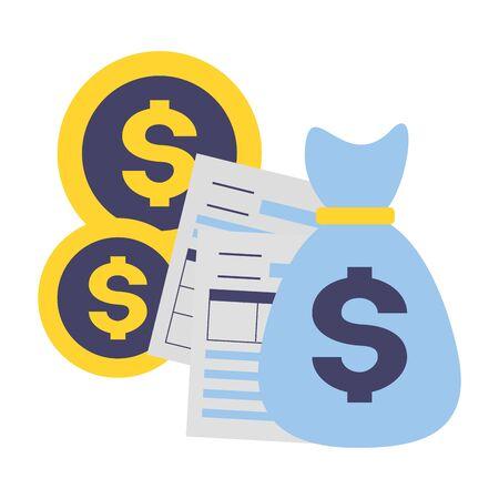 money bag coins forms tax time payment vector illustration Foto de archivo - 129207691
