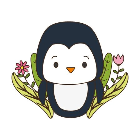 cute penguin cartoon flowers leaves vector illustration design