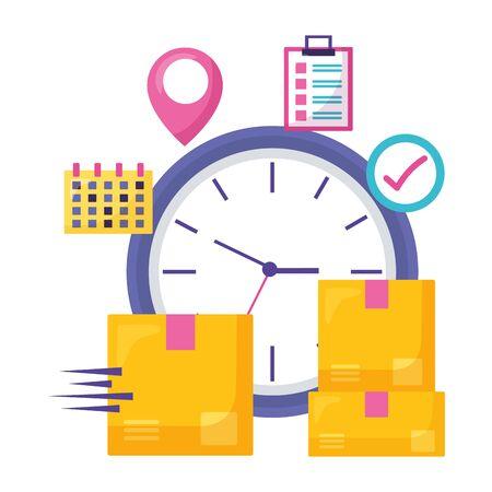 clock cardboard box calendar checkmark location pointer fast delivery business vector illustration Illustration