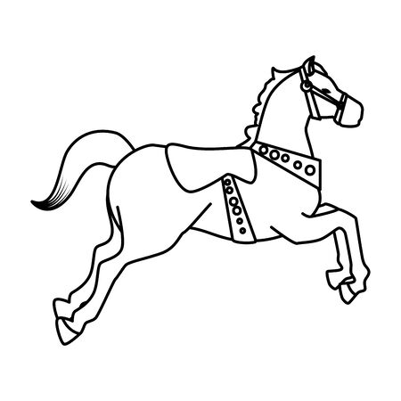 disegno dell'illustrazione di vettore dell'icona di carnevale del cavallo della giostra Vettoriali