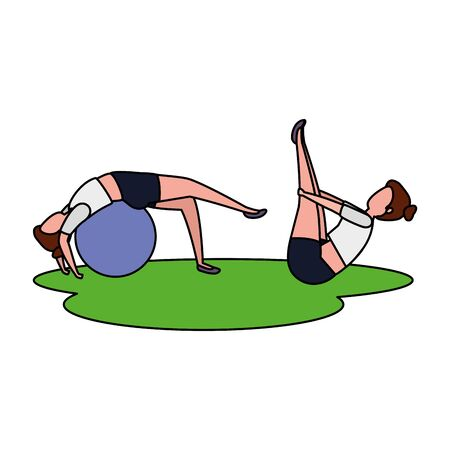 beauty girls couple practicing pilates with balloon in grass vector illustration