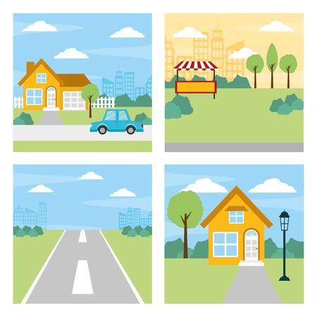 set pictures differents scene vector illustration design Illustration