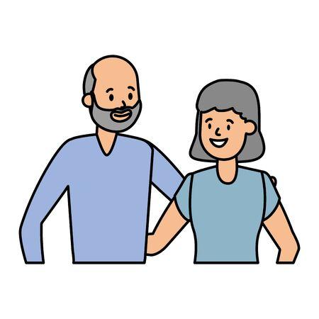grandfather and grandmother couple vector illustration design Иллюстрация