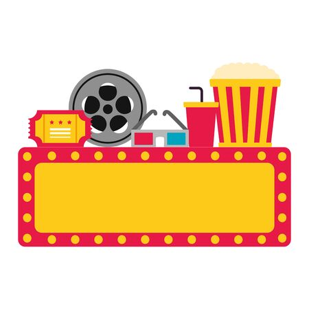 billboard 3d glasses reel ticket pop corn cinema movie vector illustration