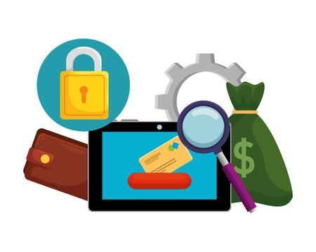 tablet with credit card and ecommerce icons vector illustration design Foto de archivo - 129208584