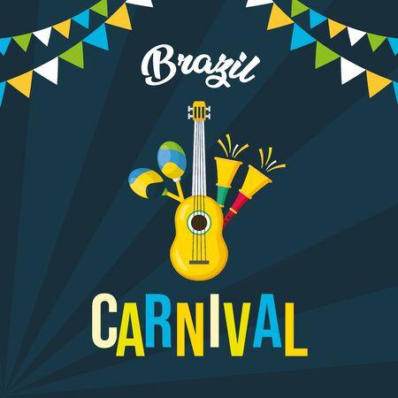 guitar and horns maracas musical brazil carnival festival vector illustration Иллюстрация