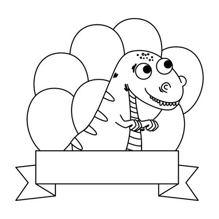 cute tyrannosaurus rex with balloons helium frame vector illustration design Banque d'images - 129208646