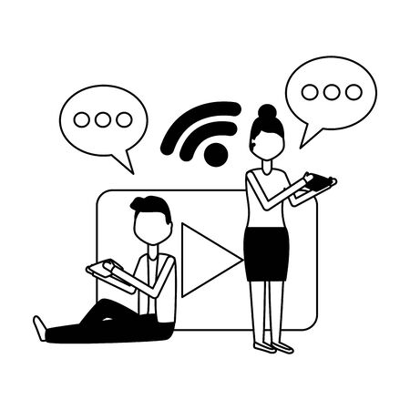 people laptop mobile chat social media vector illustration Foto de archivo - 129208656