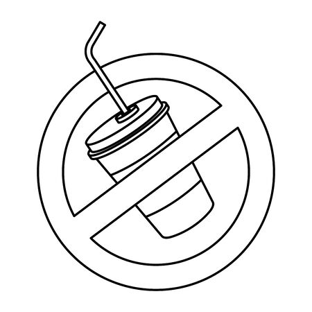 plastic cup with straw in denied symbol vector illustration design Imagens - 129200796