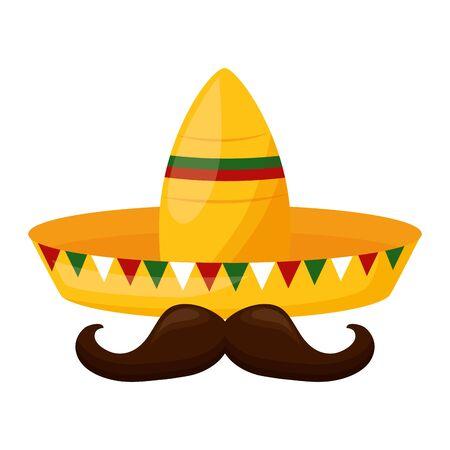 hat mustache mexico cinco de mayo sticker vector illustration 일러스트