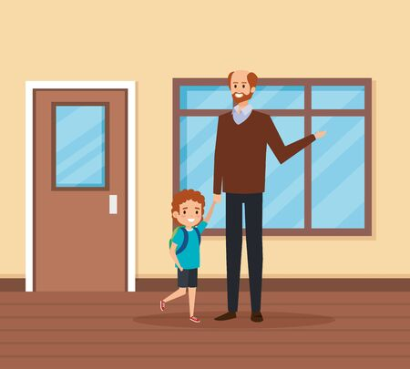 male teacher with student boy in the school scene vector illustration design
