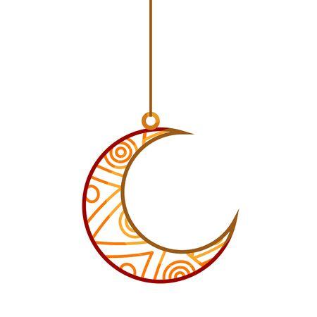 ramadan kareem moon hanging decoration vector illustration design 일러스트