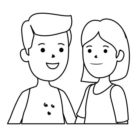 young boy shirtless with cute woman couple vector illustration design Standard-Bild - 129209018