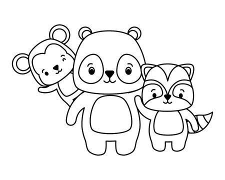 cute panda raccoon monkey cartoon vector illustration Foto de archivo - 129209205