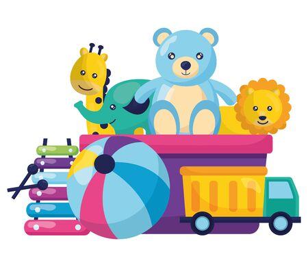 kids toys bear lion giraffe ball xylophone truck vector illustration Foto de archivo - 129209202