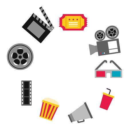 frame 3d glasses speaker popcorn ticket camera cinema movie vector illustration