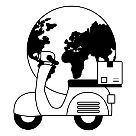 world scooter cardboard box fast delivery business vector illustration
