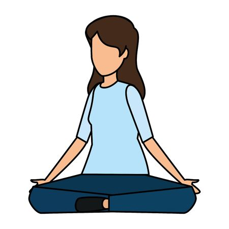 happy young woman seated with lotus position vector illustration design Ilustração