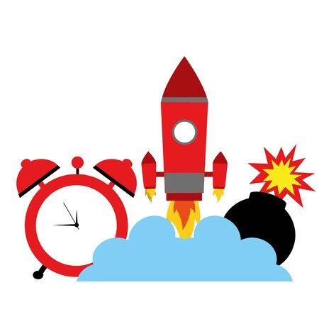comic rocket clock bomb cartoon vector illustration Фото со стока - 129209609