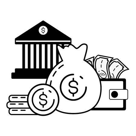 money bag wallet bank online banking vector illustration