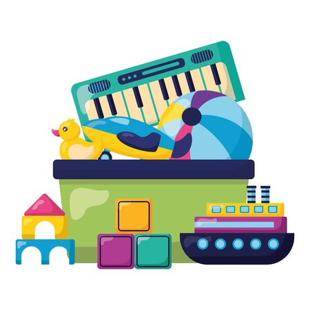 kids toys duck ball boat castle piano cubes vector illustration Stockfoto - 129209881