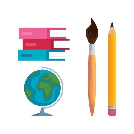 set of books with brushpaint and pencil with global map over white background vector illustration