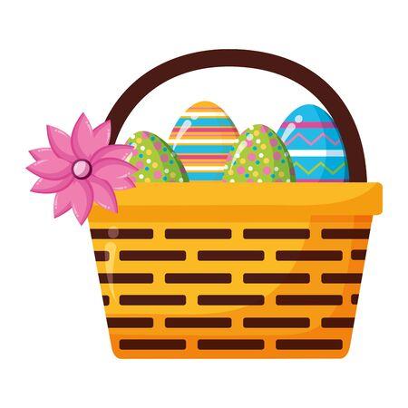 happy easter basket eggs flower vector illustration Stock Illustratie