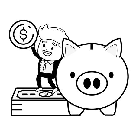 businessman piggy bank money online payment vector illustration