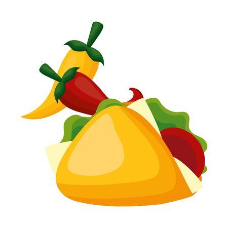 taco chili pepper fast food vector illustration Stock Illustratie