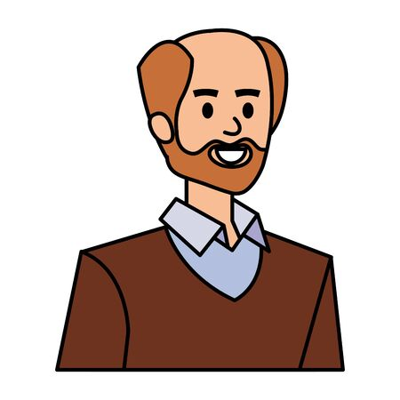 adult father bald with beard character vector illustration design