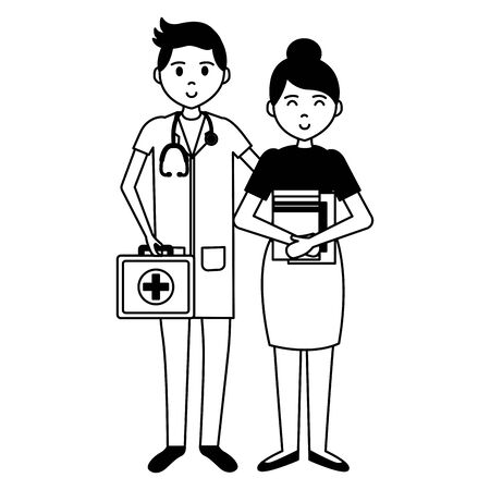 doctor with stethoscope and teacher woman book vector illustration
