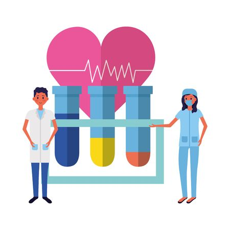 medical people test tube heartbeat vector illustration Reklamní fotografie - 129223909