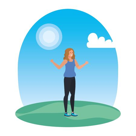 happy young woman in the landscape vector illustration design Standard-Bild - 129224298