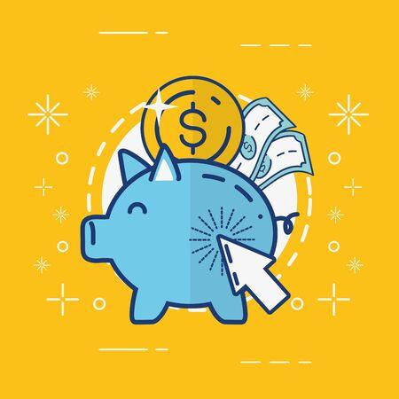 piggy bank coin money online payment vector illustration Foto de archivo - 129224401