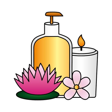 bottle dispenser gel candle flowers spa treatment therapy vector illustration 版權商用圖片 - 129235285