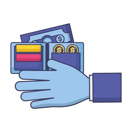 hand with wallet money tax payment vector illustration