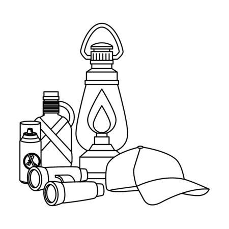 kerosene lantern with camping accessories vector illustration design Illustration