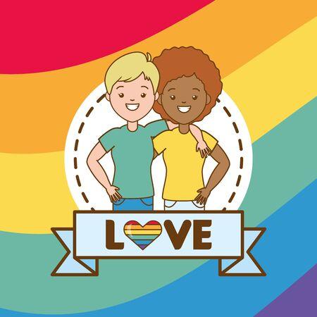 happy couple women lgbt pride vector illustration Banco de Imagens - 129235379