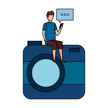 man using cellphone seated in camera with speech bubble vector illustration design