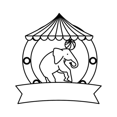 circus elephant playing with balloon in tent vector illustration design